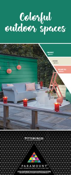 Colorful Green Outdoor Gathering Space   This paint color palette is designed to fuel your outdoor fun with a bold Pinehurst green hue, a modern neutral beige, and a bright salmon pink. Use these exterior paint colors by Pittsburgh Paints & Stains Paramount™ Paint, to create the perfect surrounding for an outdoor sitting area.