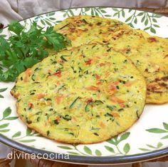 Estas sencillas tortitas de verduras se pueden servir frías o calientes. Mexican Food Recipes, Vegetarian Recipes, Cooking Recipes, Healthy Recipes, Comidas Light, Food Porn, Vegetable Recipes, Cooking Time, Love Food