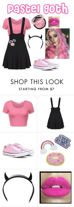 """""""Pastel Goth-Pink"""" by officialsarahrose on Polyvore featuring Converse, Club Exx, Glitter Pink, pastelgoth, alternative and pastelpunk"""