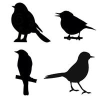 "Art Stencil Template Four Birds - 6"" x 6"" Stencil"