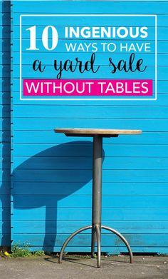 Want to have a yard sale but don't have any tables to display your items? No worries! Check out these 10 creative displays! Yard Sale Signs, Garage Sale Signs, For Sale Sign, Garage Sale Organization, Garage Storage, Garage Sale Pricing, Diy Yard Decor, Yard Swing, Rummage Sale