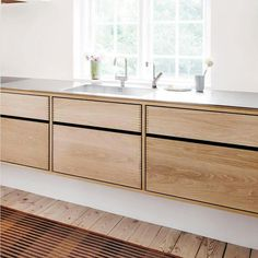 "This design is called ""Model Cabinet"" - a kitchen furniture made in Danish oak wood which we have treated with a natural soap. On top floats a solid stainless steel worktop. Kitchen Cabinet Drawers, Wood Kitchen Cabinets, Cabinet Decor, Wooden Kitchen, Kitchen Furniture, Kitchen Decor, Green Cabinets, Kitchen Rustic, Furniture Nyc"