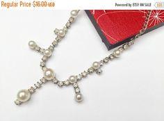 Rhinestone Pearl Necklace Silver metal  by serendipitytreasure