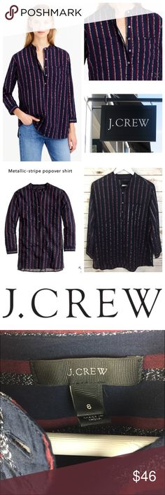 """J.CREW Metallic Stripe Popover Tunic J.CREW Metallic Stripe Popover Tunic Body length: 28 1/4"""" Size 6 - runs large/oversized PRODUCT DETAILS We take our menswear-inspired stripes with a side of sparkle. Cotton/metallic threads. Long roll-up sleeves. Functional buttons at cuffs. Button placket. Chest pockets. Machine wash. Item B4819.  Thank you for looking and please check out the rest of my closet. J. Crew Tops Tunics"""