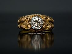 Antique Russian Medieval style 2 ct diamond Men's Gold Ring for sale