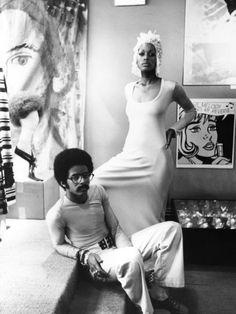 Stephen Burrows and model in his studio. Photo by Moneta Sleet