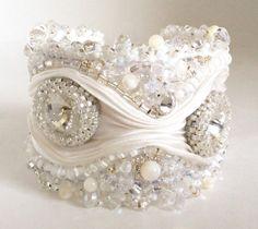 Swarovski Crystal Beaded Shibori Ribbon Cuff Bracelet on Etsy, $249.14 AUD Ribbon Jewelry, Soutache Jewelry, Fabric Jewelry, Jewelry Crafts, Beaded Jewelry, Embroidery Jewelry, Silk Ribbon Embroidery, Shibori, Bridal Cuff