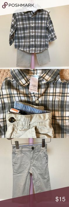 Janie and Jack Boys plaid button down + chinos Janie & Jack Boys grey + tan plaid Button down paired with Gymboree chinos. Both Size 6-12 Month. EUC! Janie and Jack Matching Sets