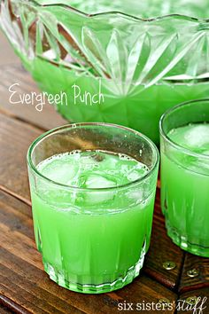 Evergreen Punch on SixSistersStuff.com | A party isn't complete without a drink! This bright green punch is perfect for feeding a crowd and can be thrown together in a matter of minutes. The color is so fun for Halloween, Christmas or St. Patrick's Day!
