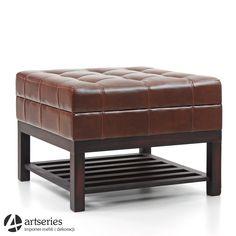 Pikowana pufa skórzana w kwadracie z półką, krzesło 81186 - Artseries