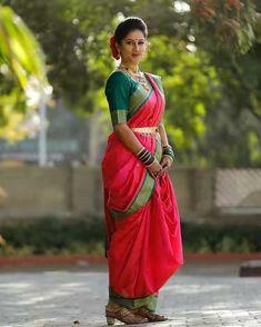 Marathi Saree, Marathi Bride, Marathi Wedding, Saree Wedding, Ethnic Sarees, Indian Sarees, Kashta Saree, Sari, Indian Wedding Poses