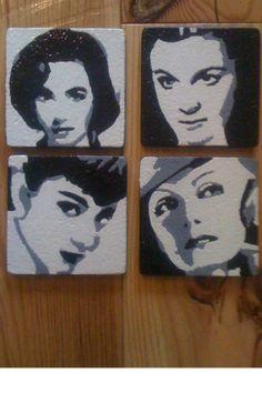 Hollywood legends EGGSHELL coasters