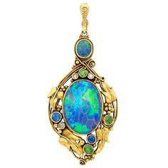 Art Nouveau Gold, Black Opal, Sapphire, Demantoid Garnet and Diamond Pendant
