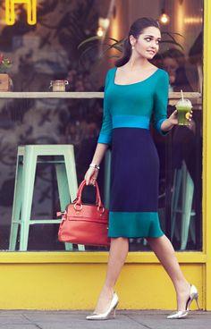 Colour Block Day Dress (Marine) by Alie Street