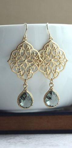 Gypsy Art Deco Filigree Chandelier Grey Black Glass Gold Plated Drop Earrings