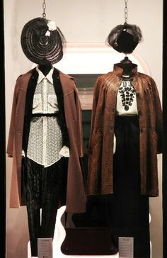 On the left wearing: 1970s brocade suit, M.G. Severi lace shirt, 1970s wool coat, 1940s tulle and straw hat, 1950s silk pump.  Oufit on the right: 1980s Krizia jumper, 1980s Valentino Boutique skirt, 1980s Rose Bertin python coat, 2.4m long glass pearls necklace, 1950s milliner's hat with tulle, Fendi ankle boots.