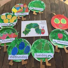 What better way to retell the story of The Very Hungry Caterpillar by Eric Carle than to make sequencing plates.