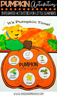 This book comes in Spanish - Tiempo de calabazas! FREE life cycle of a pumpkin activities, including pocket chart sentences and sequencing printable. Perfect for your pumpkin investigations! Plus, we love the adorable pumpkin crafts! Science Halloween, Halloween Activities, Halloween Preschool Activities, Pumpkin Life Cycle, Apple Life Cycle, Kindergarten Science, Kindergarten Fall Art Lessons, Kindergarten Worksheets, Autumn Activities
