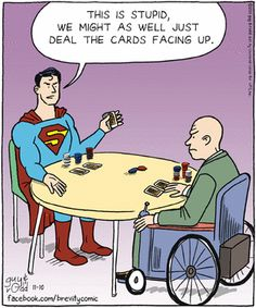 Superman and Professor X play cards.