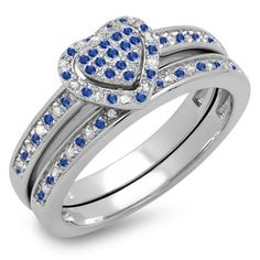 Thanks for Sharing!  1.00 Carat (ctw) 14K White Gold Round Blue Sapphire & White Diamond Ladies Heart Shaped Bridal Engagement Ring With Matching Band Set 1/4 CT - Dazzling Rock #https://www.pinterest.com/dazzlingrock/