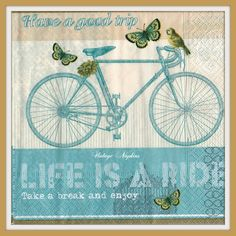 SALE *** TWO Paper napkins for DECOUPAGE - Vintage Bike and Butterflies #506 by VintageNapkins on Etsy