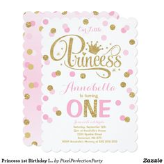 Shop Princess Birthday Invitation Pink Mint Gold created by PixelPerfectionParty. Personalize it with photos & text or purchase as is! 1st Birthday Princess, 1st Birthday Girls, First Birthday Parties, Princess Party, Birthday Ideas, Birthday Stuff, Birthday Decorations, Princess Invitations, 1st Birthday Invitations