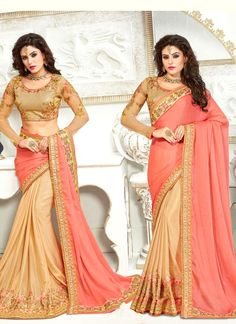 Indian ethnic wear online shopping site. Buy designer sarees. Order this fantastic patch border and resham work designer traditional saree.