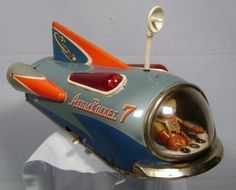 Atom Rocket 7 Space ship battery operated (I've seen one in person! Vintage Robots, Vintage Toys, Retro Vintage, Metal Toys, Tin Toys, Perry Rhodan, Retro Rocket, Space Toys, Vintage Space