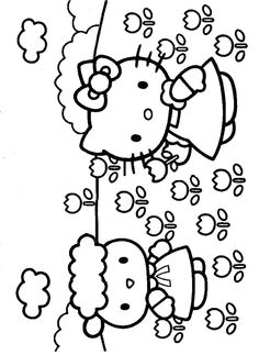 hello kitty in spring Colouring Pages