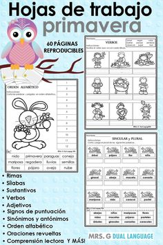 Spanish printables  for kids. Great for students in bilingual, dual language or Spanish immersion classes. Appropriate for first and second grade.