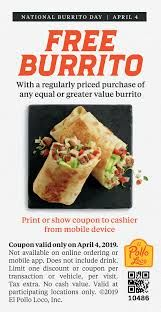 picture regarding El Pollo Loco Printable Coupons called El Pollo Loco Invest in 1 Choose 1 Absolutely free Burrito These days
