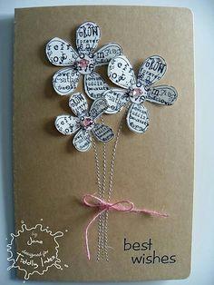 <3 DIY Karte aus Altpapier mit Blumen