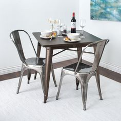 The Tabouret bistro chairs feature 100-percent steel construction, a scratch and mar resistant powder coat finish and are stackable for space saving storage. You'll love the sleek appeal of these gunmetal grey side chairs.