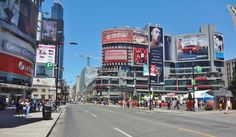 Corner of Yonge St. Downtown Toronto, Times Square, Corner, City, Travel, Viajes, Cities, Destinations, Traveling