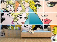 Comic Book Wall Murals ohpopsi couples kissing pop art wall mural   art walls, wall