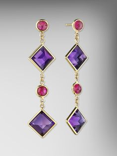 18kt Gold Amethyst and Ruby Florentine Chain Earrings by Paolo Costagli