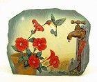 "New Resin Art Shale Rock Painted Slab Figurine Hummingbird w/ Tap and Flowers 5"""