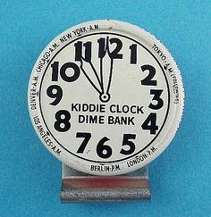 icollect247.com Online Vintage Antiques and Collectables - Kiddie Clock Dime Bank Candy Container Litho Tin 1930s