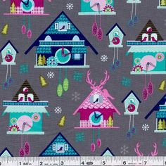 Kelly Lee Creel wows us with her first fabric collection, Storybook Lane! A bevy of fairy tale cute cuckoo clocks is printed on this fun fabric! This quilting weight fabric is 100% cotton and is 43/44