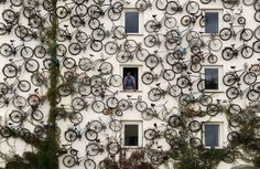 120 Bicycles used at wall in Altlandsberg, Germany for advertisement