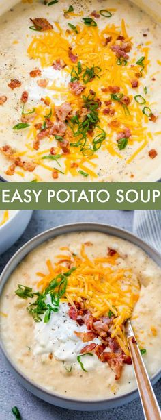 This creamy EASY Potato Soup Recipe is amazing! The soup is loaded with potatoes in a creamy base ready in just 30 minutes! This creamy EASY Potato Soup Recipe is amazing! The soup is loaded with potatoes in a creamy base ready in just 30 minutes! Easy Soup Recipes, Potato Recipes, Cooking Recipes, Healthy Recipes, Soup Recipes With Bacon, Recipes With Potatoes, Easy Homemade Soups, Best Potato Soup, Loaded Potato Soup