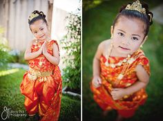 Little Girl in traditional Khmer outfit for wedding.
