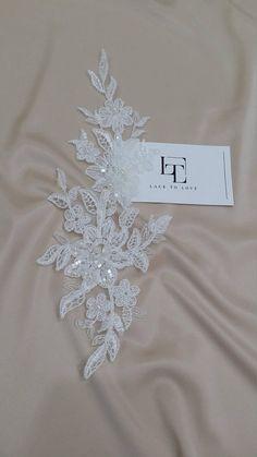 Ivory Lace applique, Beaded lace applique, French Chantilly lace applique, 3D lace, bridal lace applique, M0005