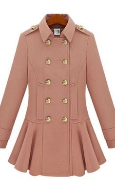 Lapel double-breasted skirt hem woolen coat. gossip girl inspired look