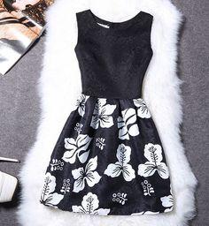 Fourkings Floral Print Vest Dress Sleeveless Dress