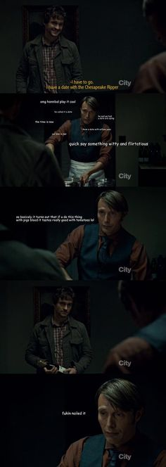 "Part of the ""Socially Awkward Cannibal"" thing, even Hannibal is really really good at pretending to be a person."