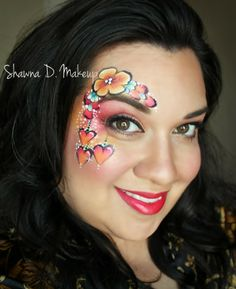 Shawna D. Make-up Valentine design Hearts and flowers Face Painting Flowers, Adult Face Painting, Paint Flowers, Face Painting Designs, Easter Face Paint, Valentines Design, Painted Faces, Color Me Beautiful, Face Paintings