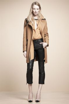 Belstaff 2013-camel overcoat and blouse with cropped leather pants