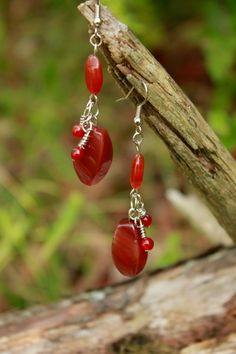 Red Agate Earrings by SweetSights on Etsy, $15.00