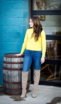 J. Crew Chateau parka in Italian stadium-cloth wool | Cropped Yellow Sweater | Over the Knee Boots | Commonwealth Brewing Company